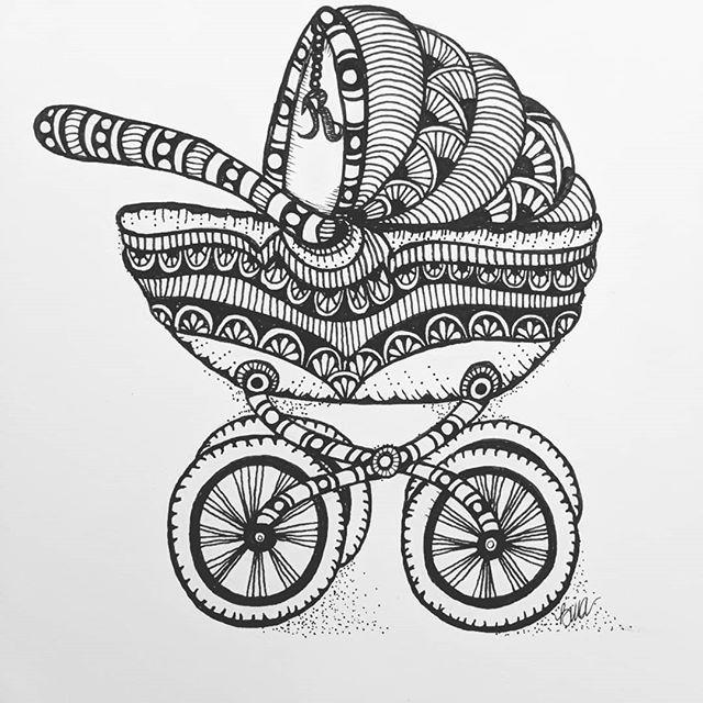 Beautiful baby carriage..... ...#zentangle #lovezen #zendoodle #zenart #artgallery #artstagram #inkartist #ink #freehand #sketch #instartpics #instagram #art #artist #initial #illustration #illustrator #baby #babycarriage #doodle