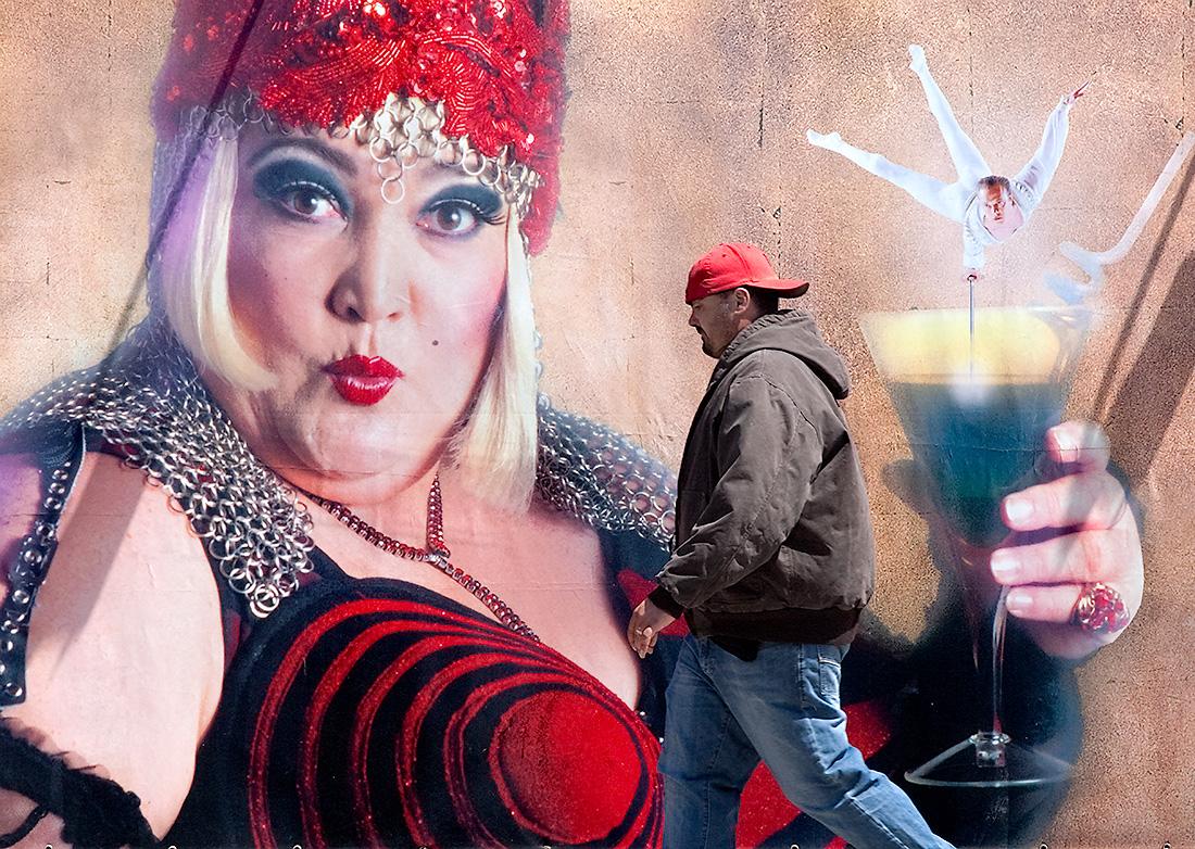 Man and Billboard, San Francisco 2009