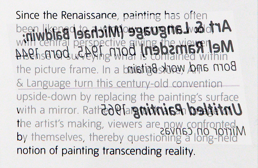 Reflections on a painting by Michael Baldwin and Mel Ramsden