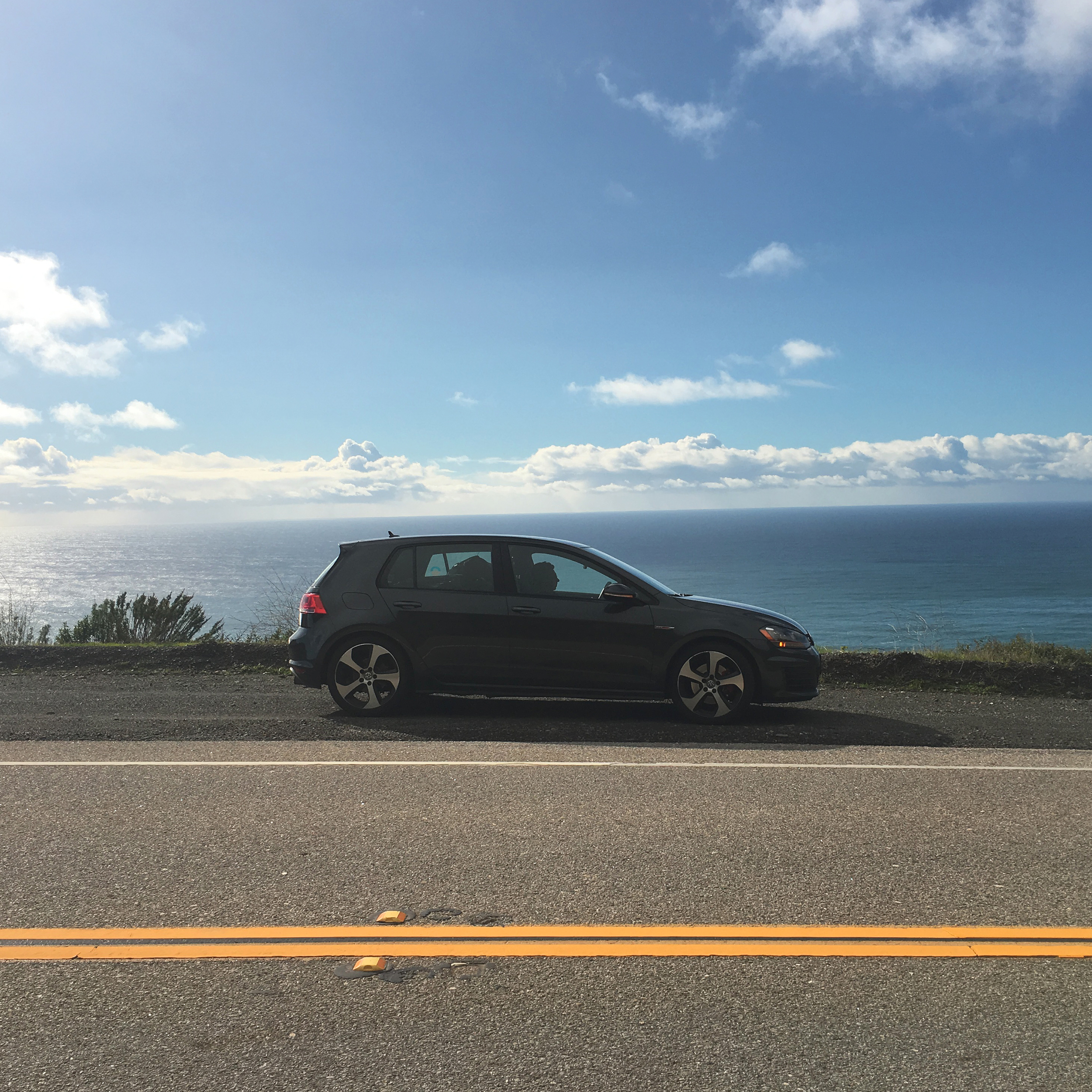 The little car that could — our VW GTI. Its heated seats got me through the back pain.