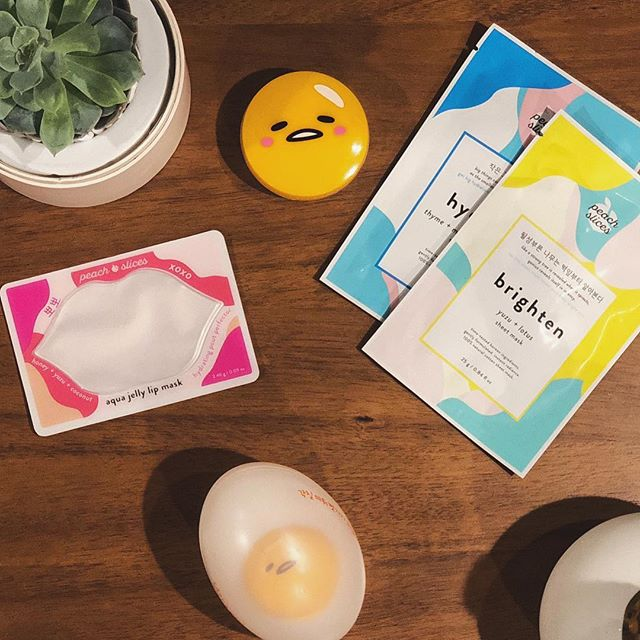 being a #spoonie means going to @cvspharmacy a hella lot 💊 picking up prescriptions turned into a time to treat myself to some fun #koreanbeauty products from @peach_slices & my favorite lazy egg @gudetama 😍🥚🍑 at home #spaday anyone?