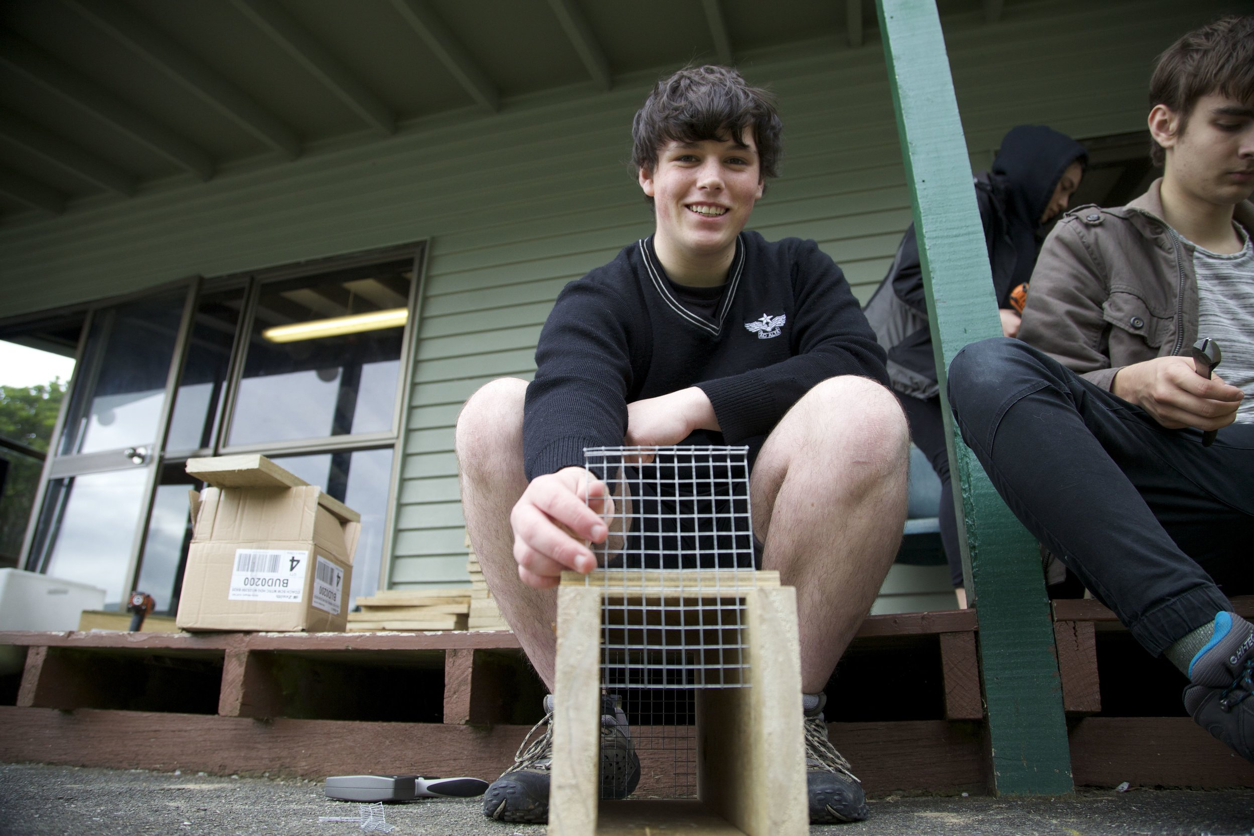 Students from Hutt Valley High School work with the  Common Unity Project Aotearoa  to source recycled wood to build rodent trap tunnels for Predator Free New Zealand. This is both their enterprise and their sustainability project. Students supply Wellington High School with the material for their community trap building workshops then distribute profits back to their group and the Common Unity Project Aotearoa.  Students in the  Papa Taiao Common Unity Academy  gain NCEA qualifications in pest control, business studies and sustainability.
