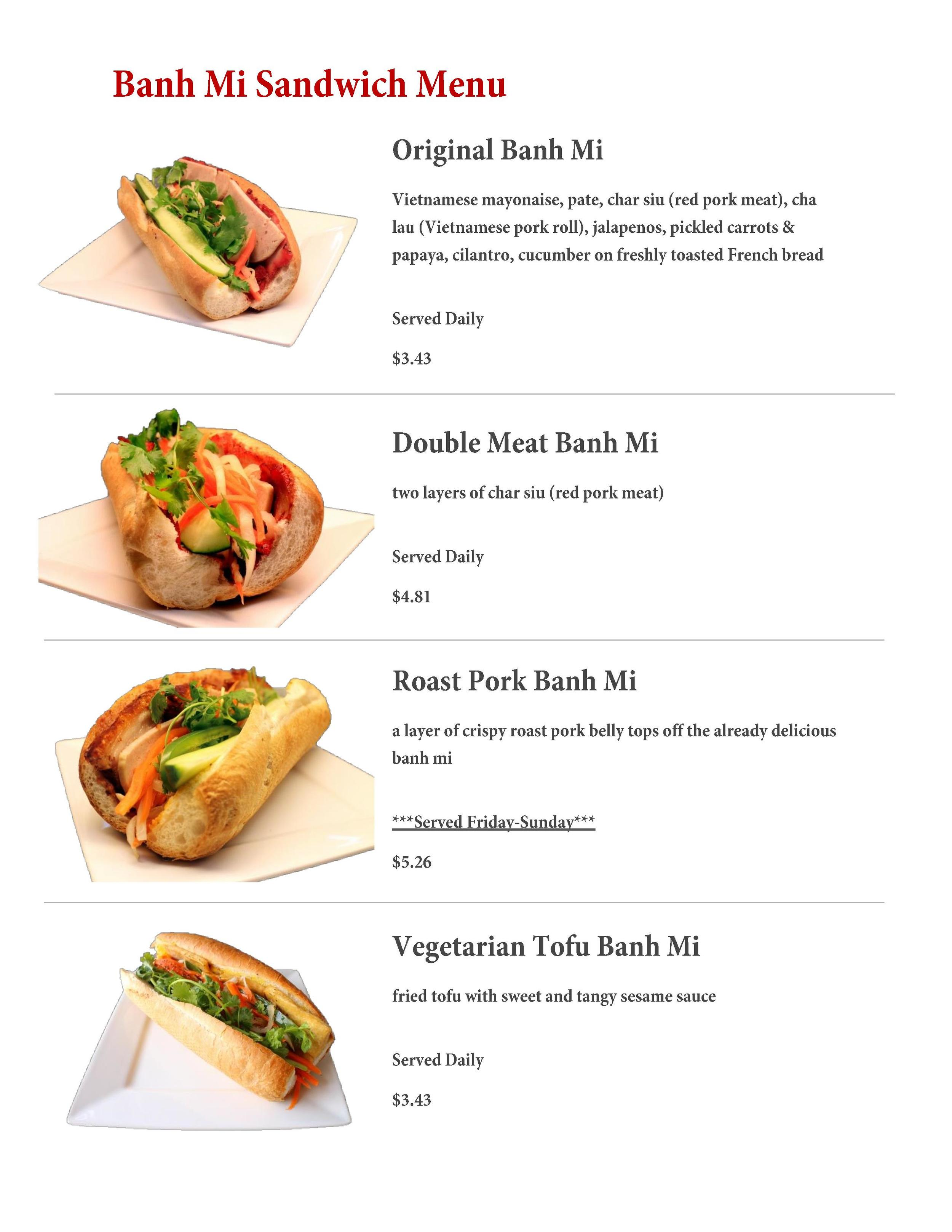Our In-Store Banh Mi Menu