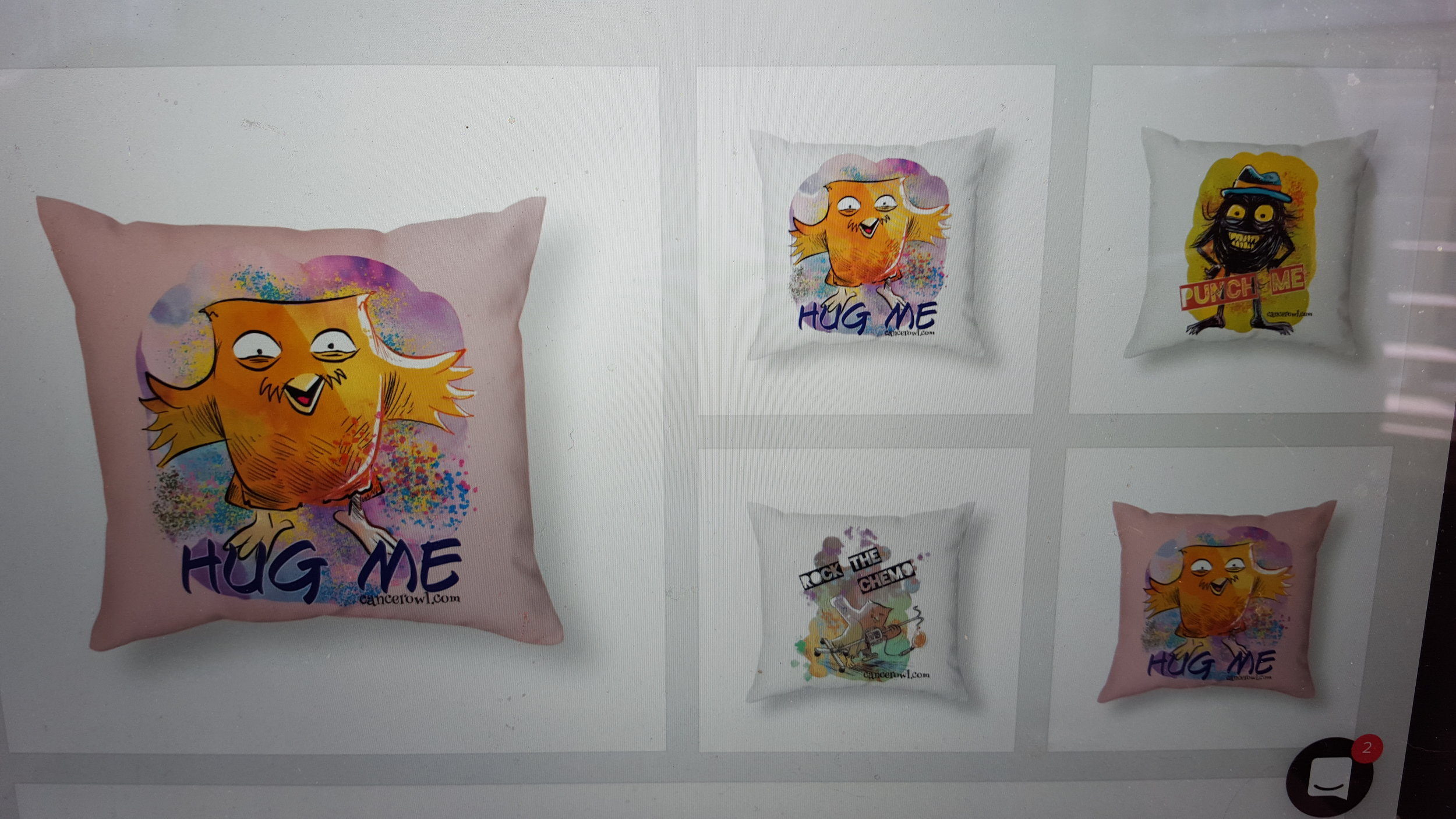 Pillows to hug and pillows for punching! Plus a pillow to take with you on chemo days!