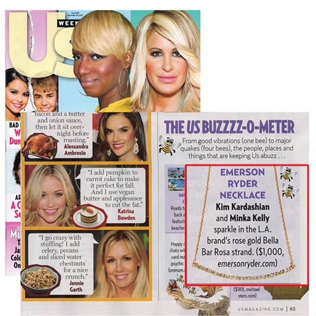 TB - We Love the buzzzz-o-meter. Thanks @usweekly @kimkardashian @minkakelly for giving us love. ❤️ @emersonryder_jewelry #bella #bellabar #14kgold #kimkardashian #kimkardashianwest #minkakelly #usweekly #tb #magazine #magazines #sunday #love