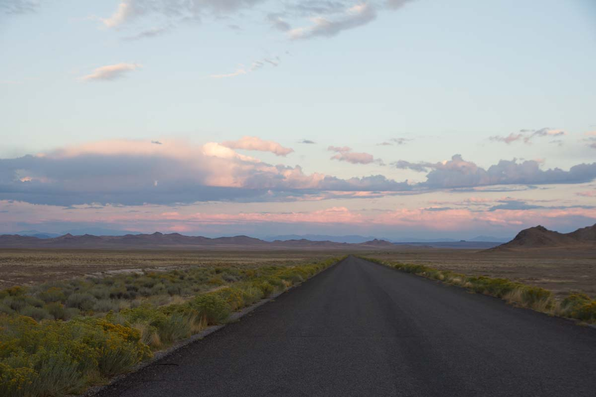 Sunrise from Topaz Mountain Utah access road. Photography by Tanya Pluth .