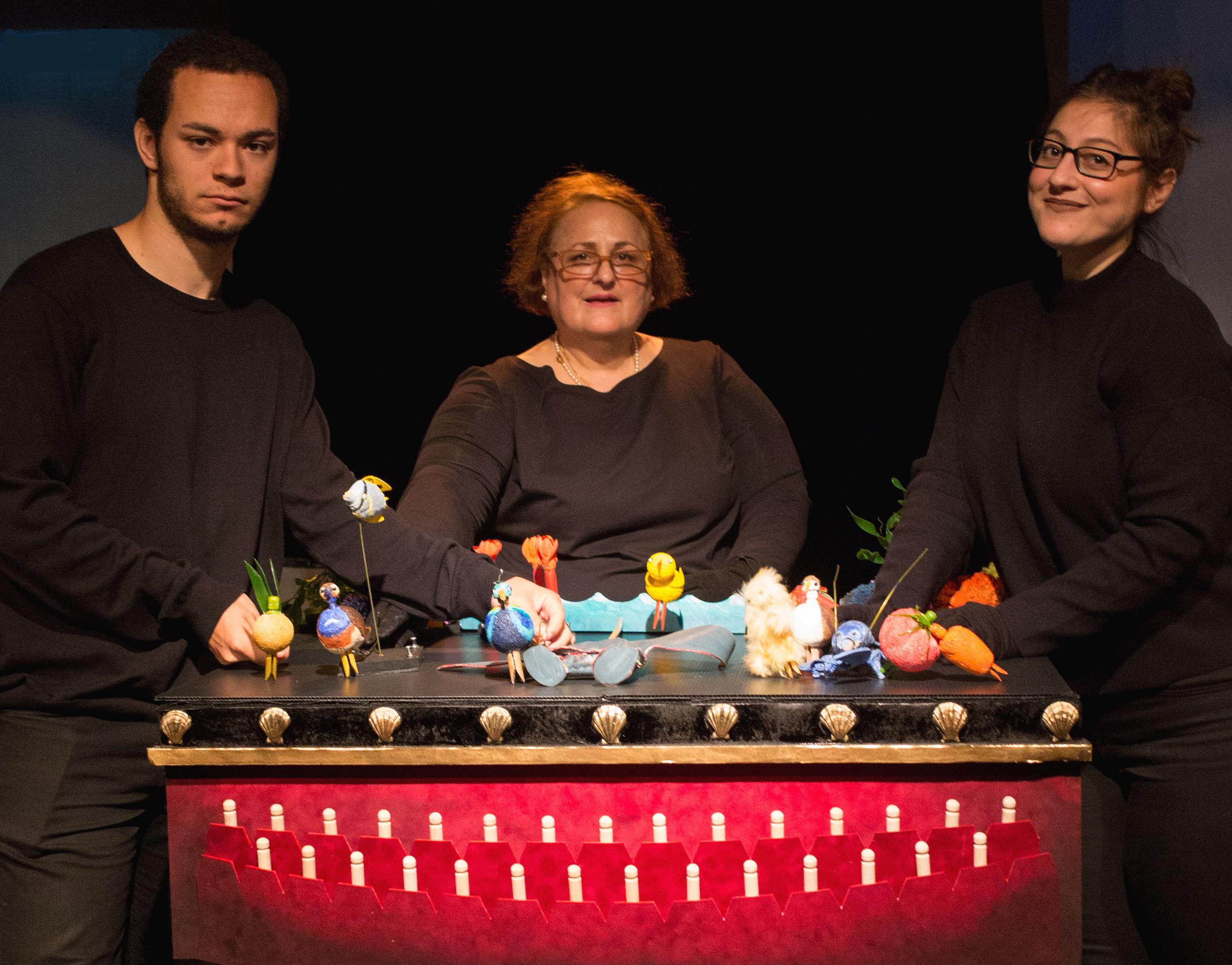Joshua Nasser, Susan J. Vitucci and Yael Rizowy in SMALL FISH, May 2016  Photo: Max Gordon