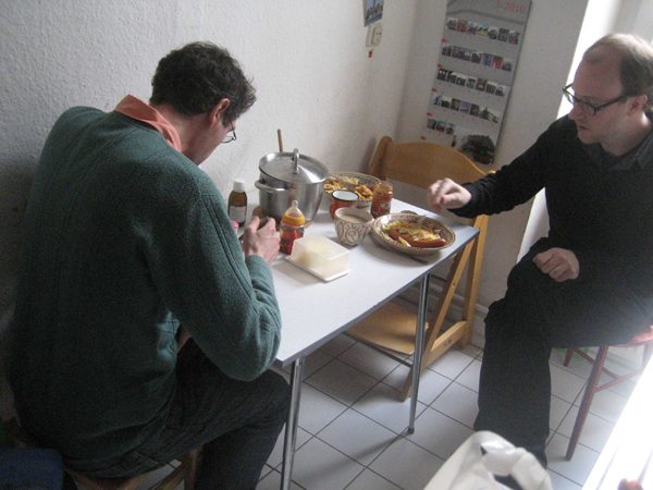 Eating lunch with Jeremy Woodruff. Berlin, Germany