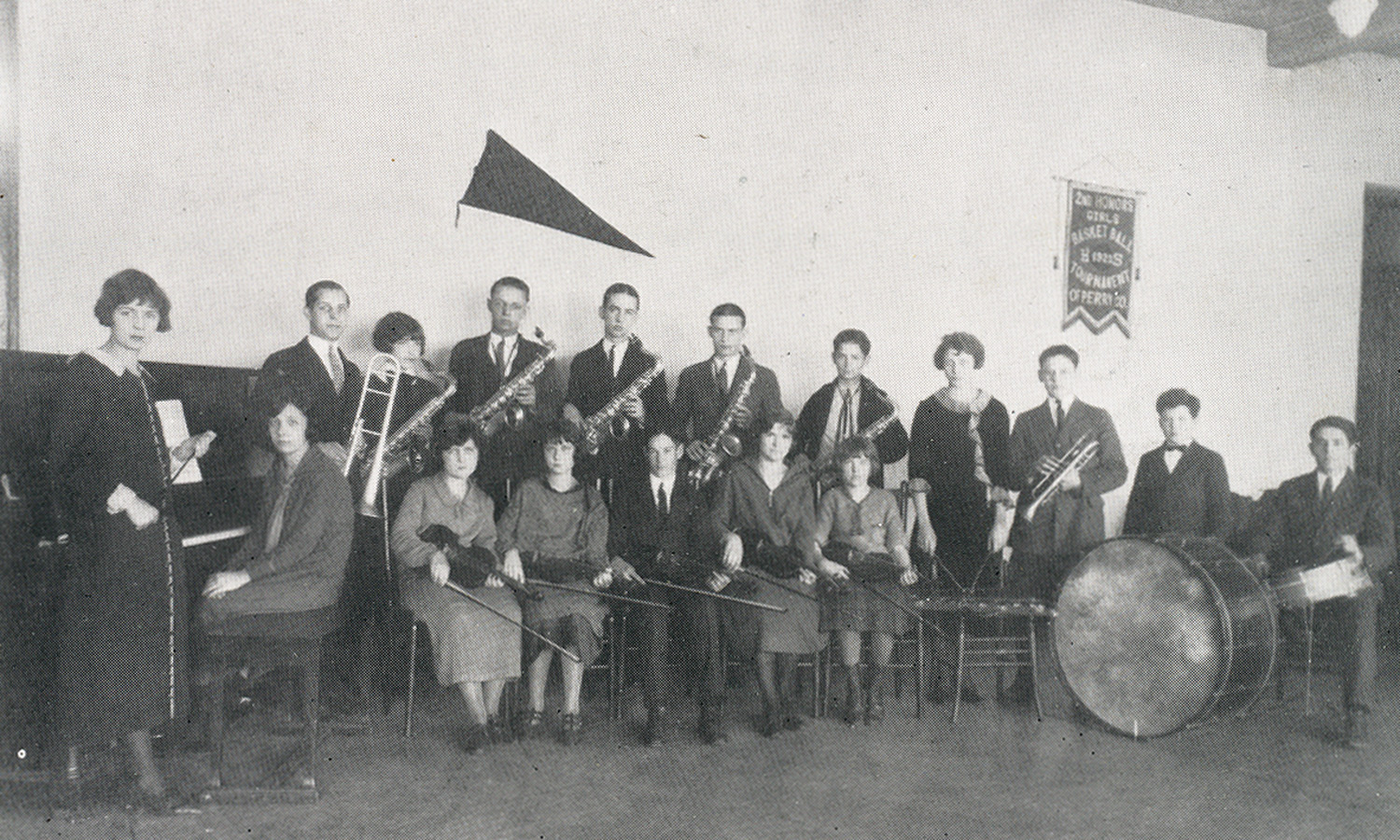 The Shawnee High School Orchestra, 1924. My grandfather Mordecai Williams is in the back row, fifth from the left, and his brother Bill is to his left.