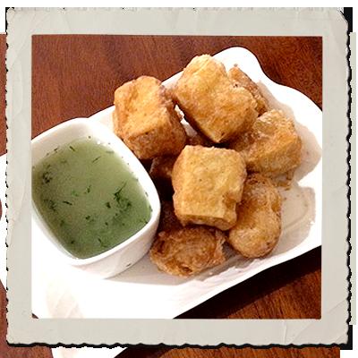 Tempura Tofu with Lemon Dill Dipping Sauce