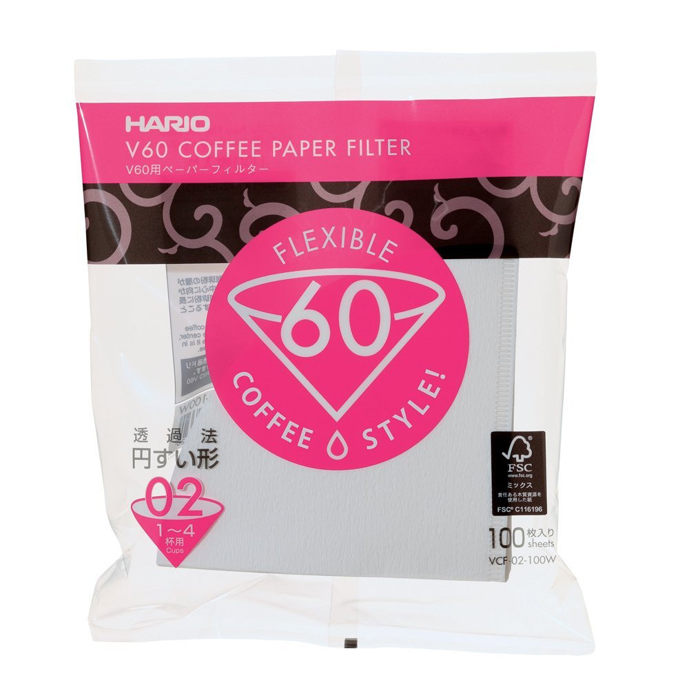 Hario V60 2 Cup white filter papers 100pk