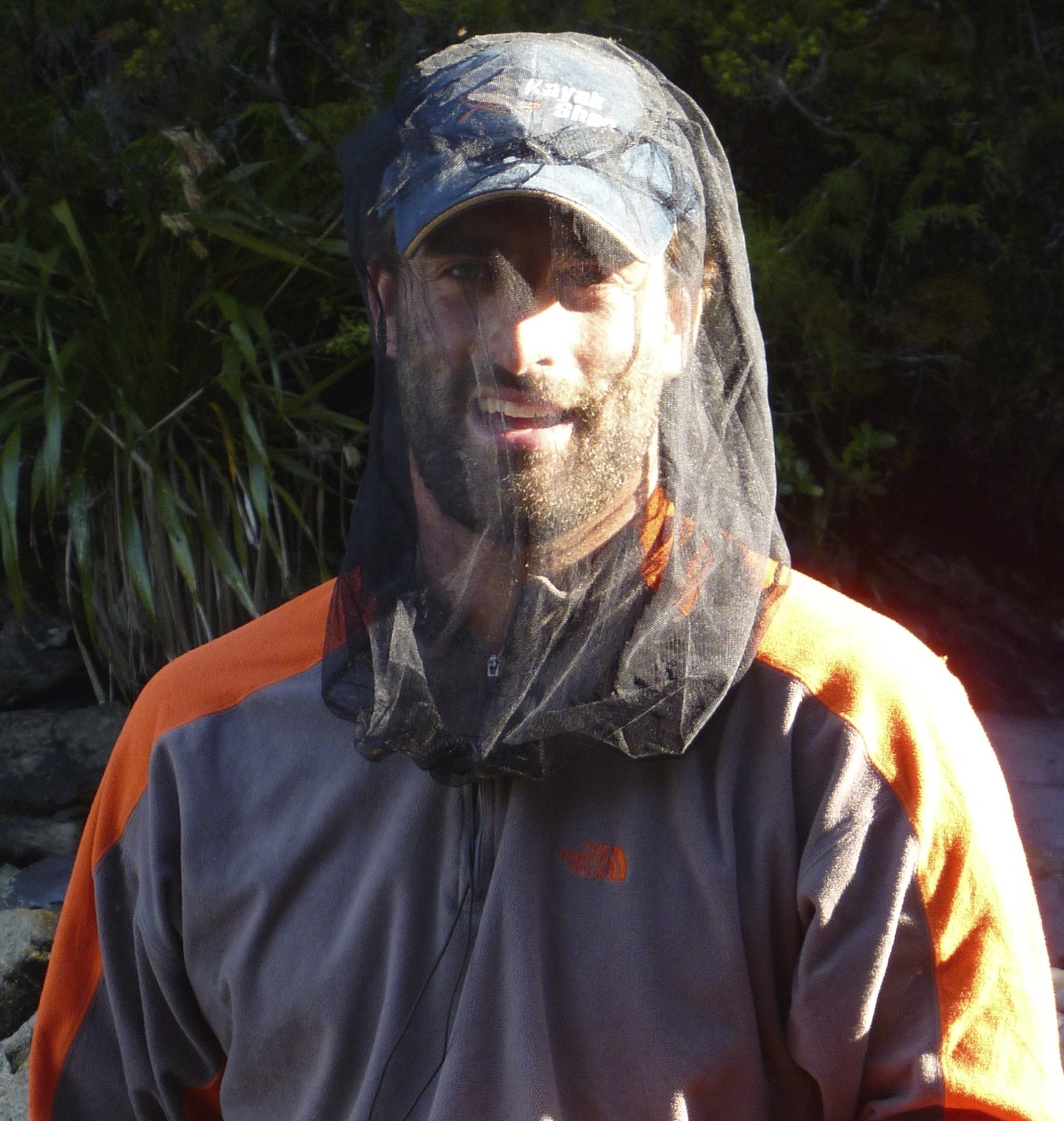 Dusky Sound, Fiordland NZ - sandflies tolerated with the aid of SeaToSummit Mosquito Headnet