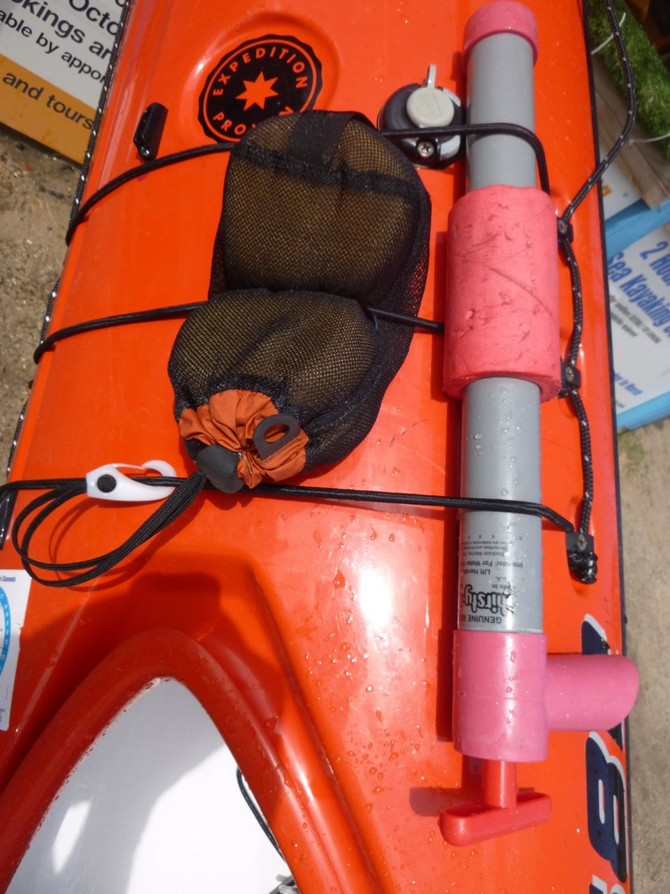 Carry a hand pump and sponge - make sure they are easily accessible from the cockpit