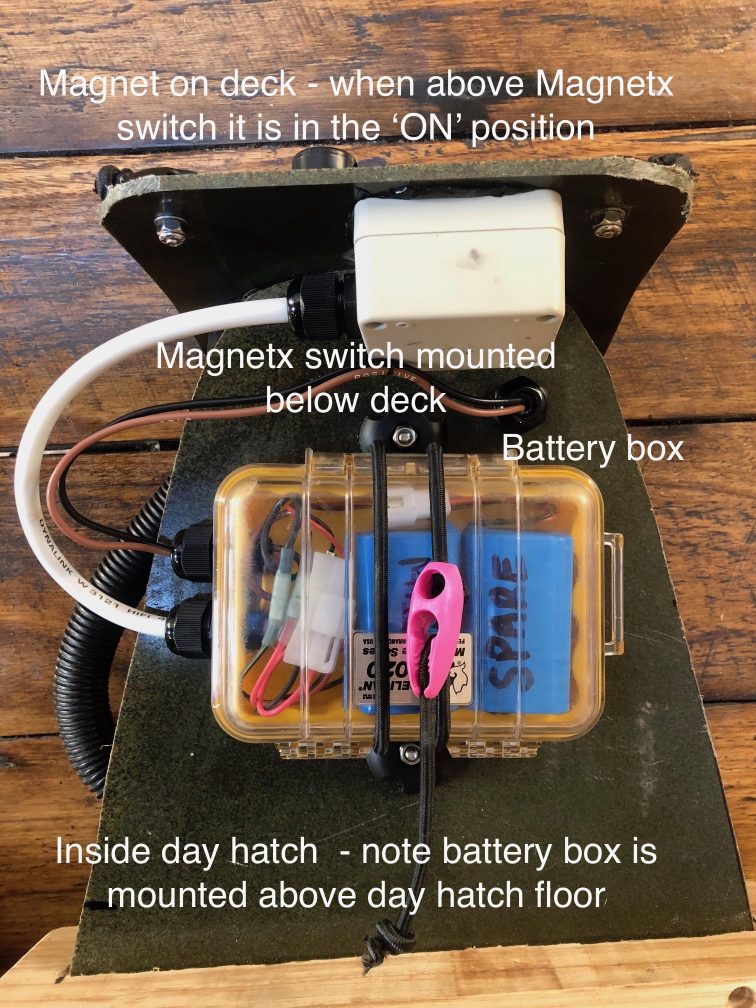 Magnetx switch, battery box containing 2x Lithium batteries - view from inside 'day hatch'.