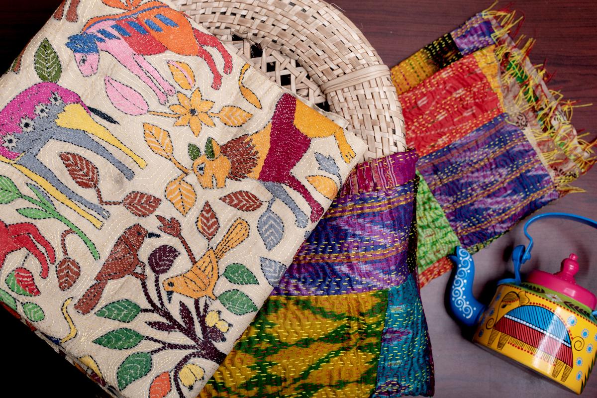 Handcrafted Kantha Silk Sari