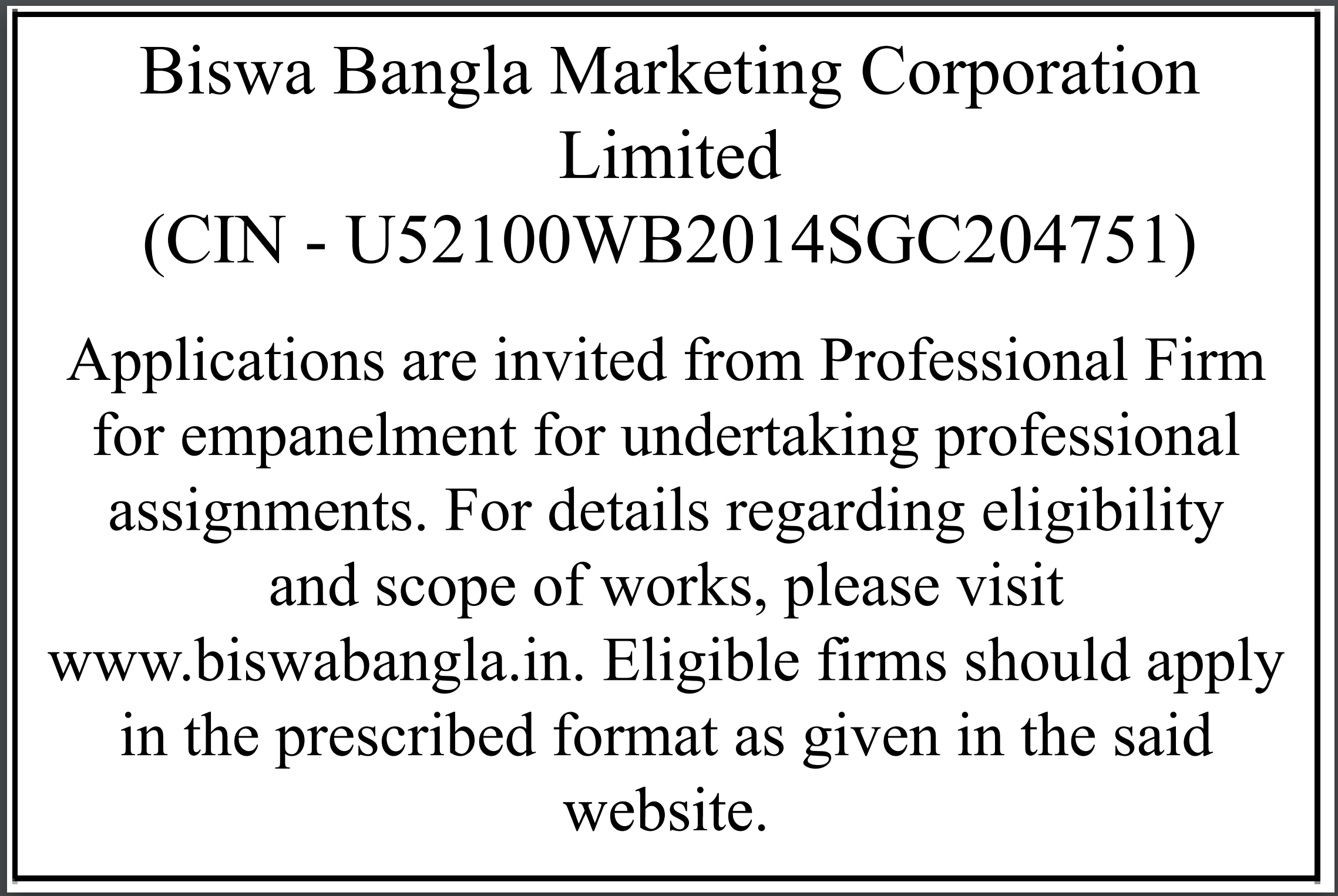 Notification For Inviting Applications From Eligible Applicants For Empanelment