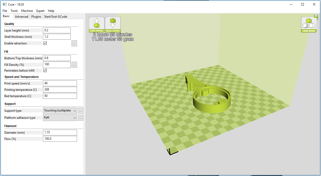 Final part print settings in Cura.
