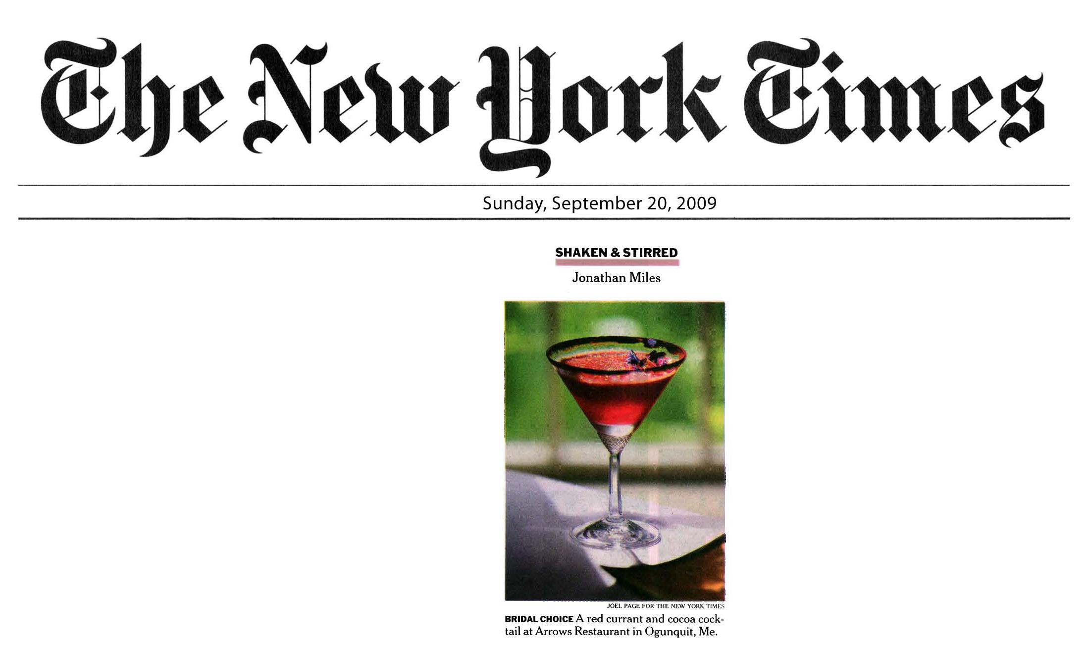 New York Times, Red Currant, Cocktail, Ogunquit, Maine, Mark Gaier, Clark Frasier, Arrows,