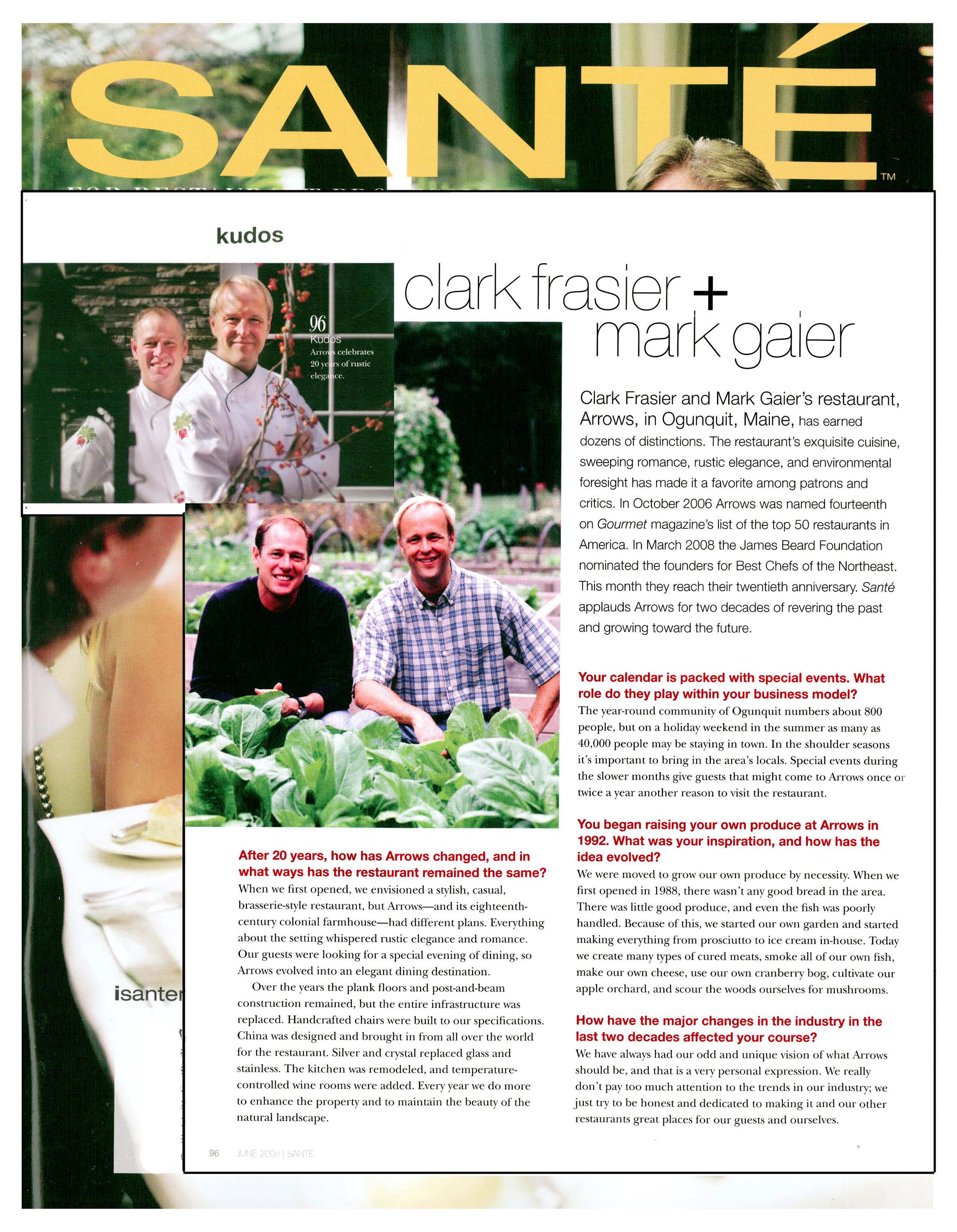 Sante Magazine Arrows Summer Winter  MC Perkins Cove  Mark Gaier Clark Frasier