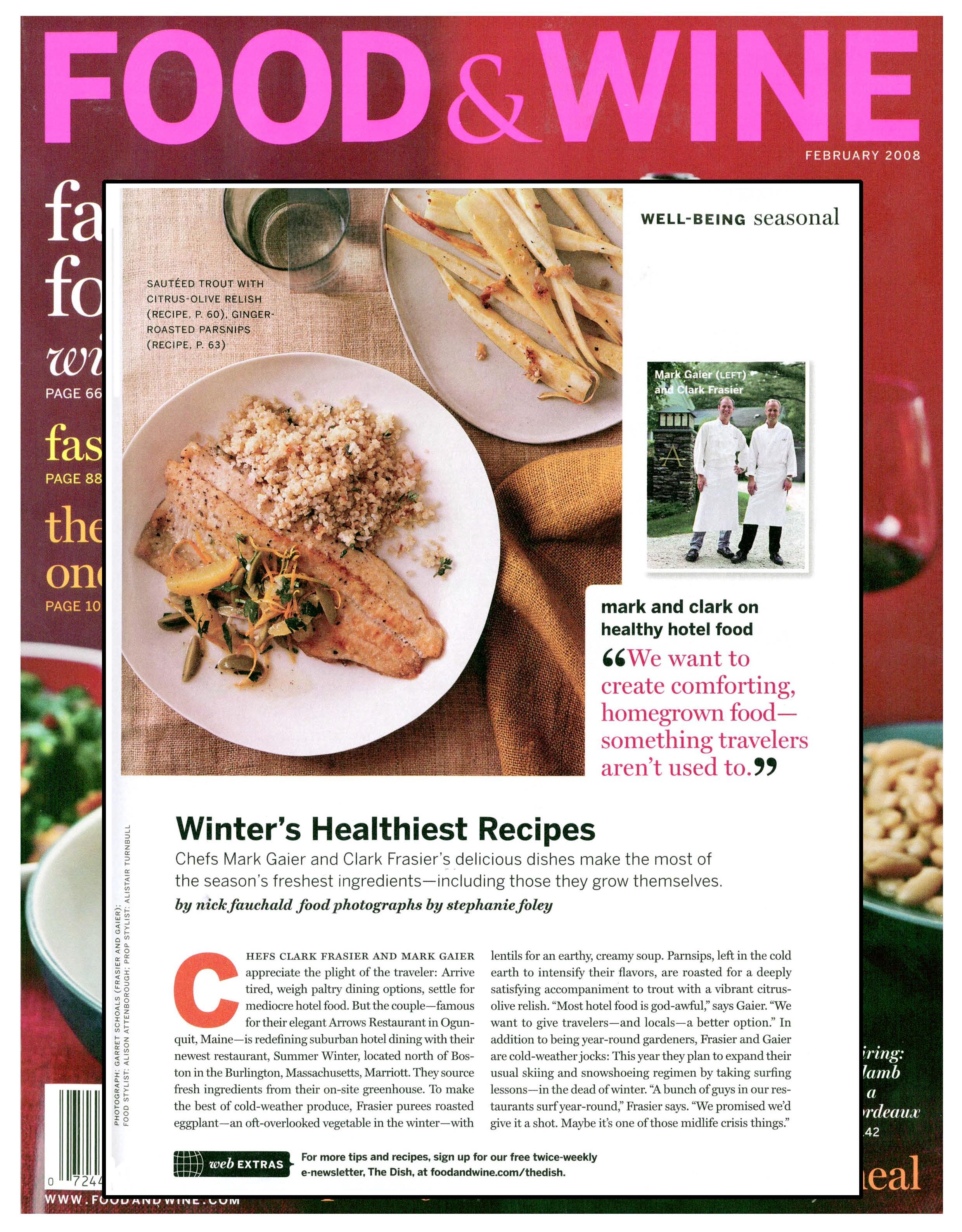 Food & Wine, Parsnips, Arrows Restaurant, Mark Gaier, Clark Frasier