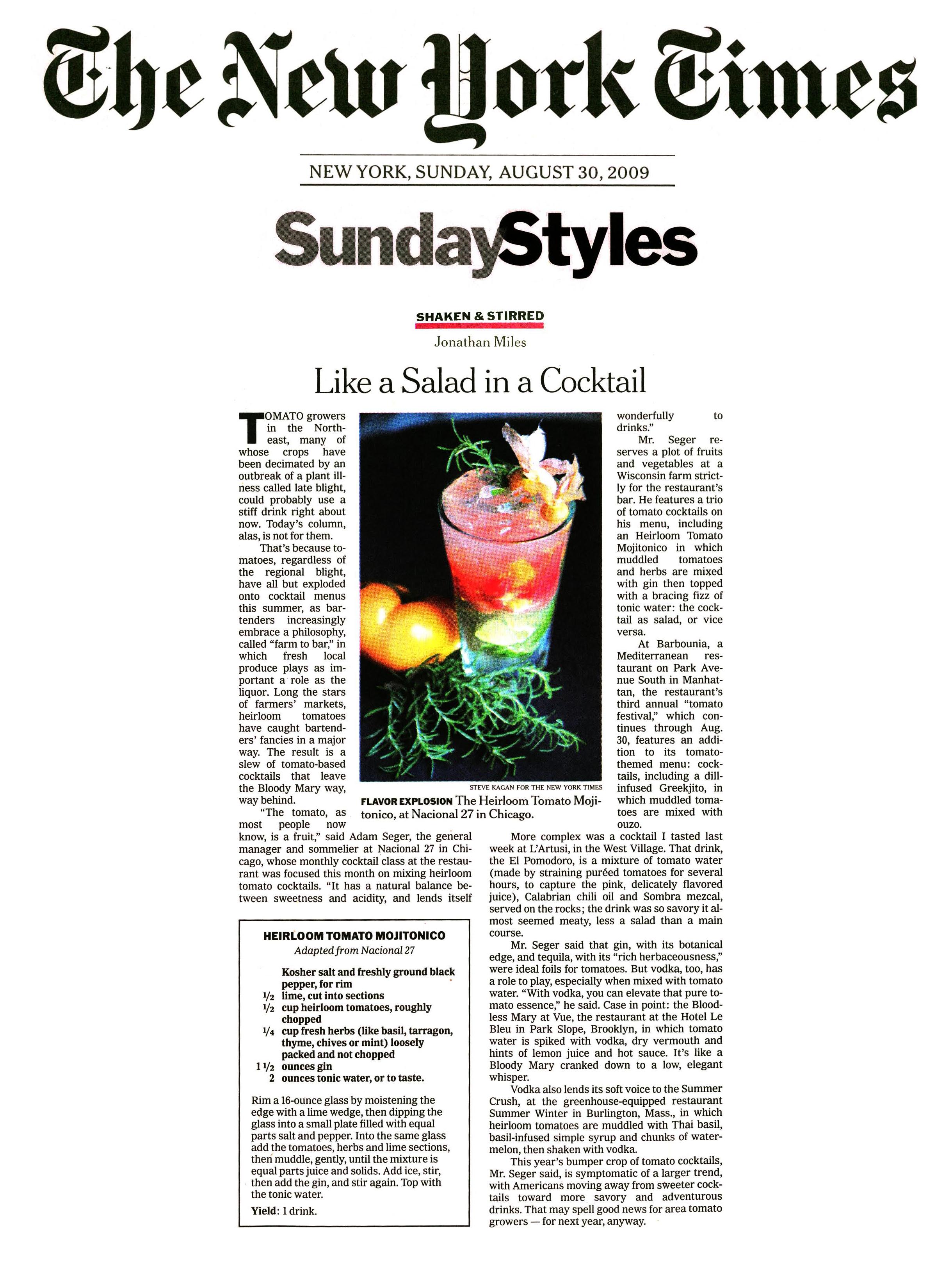 New York Times, Heirloom Tomatoes, Mark Gaier, Clark Frasier, Arrows Restaurant