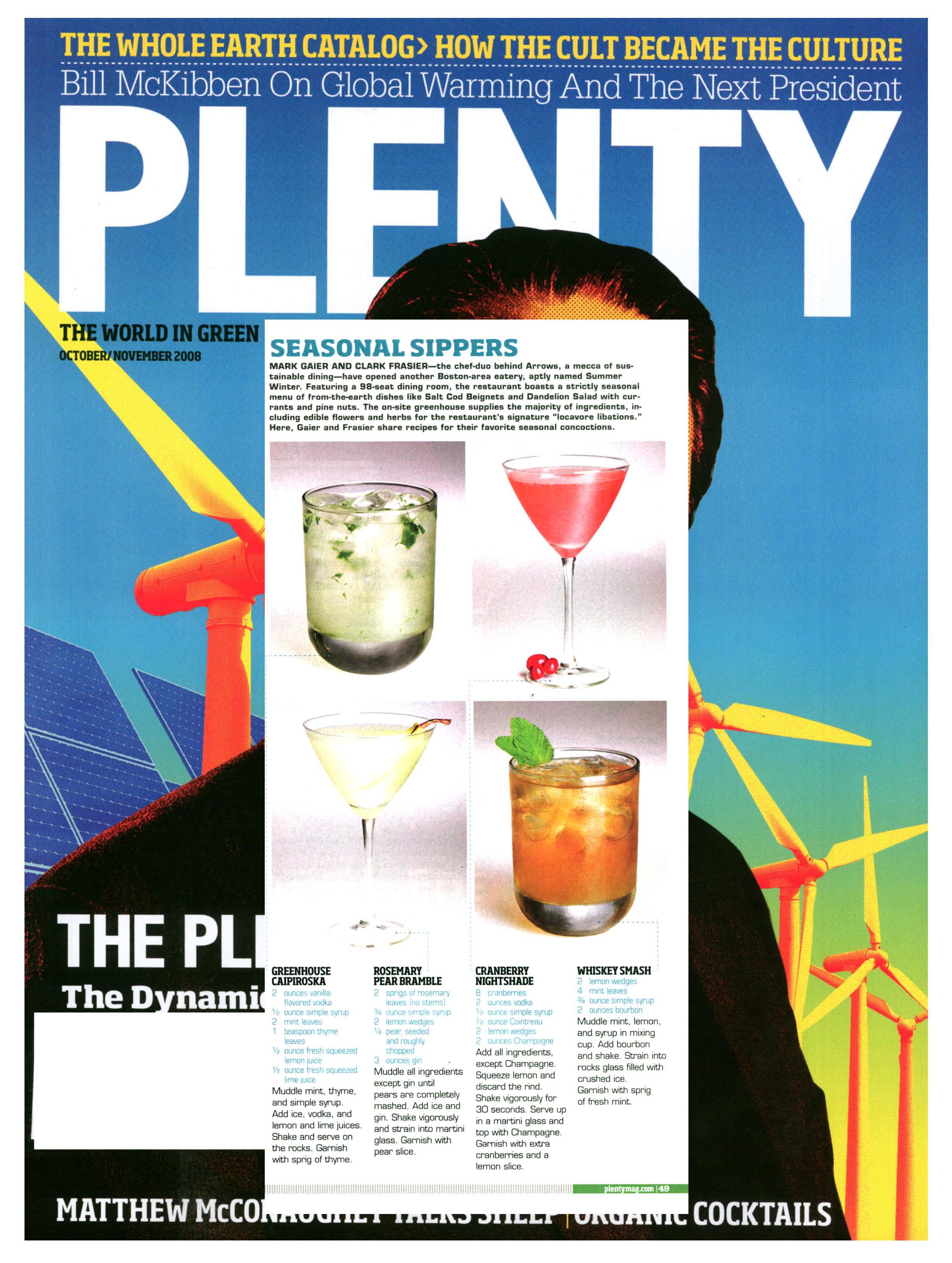 Plenty Magazine, Rosemary, Cranberry, Summer Winter Restaurant, Arrows Restaurant, Mark Gaier, Clark Frasier