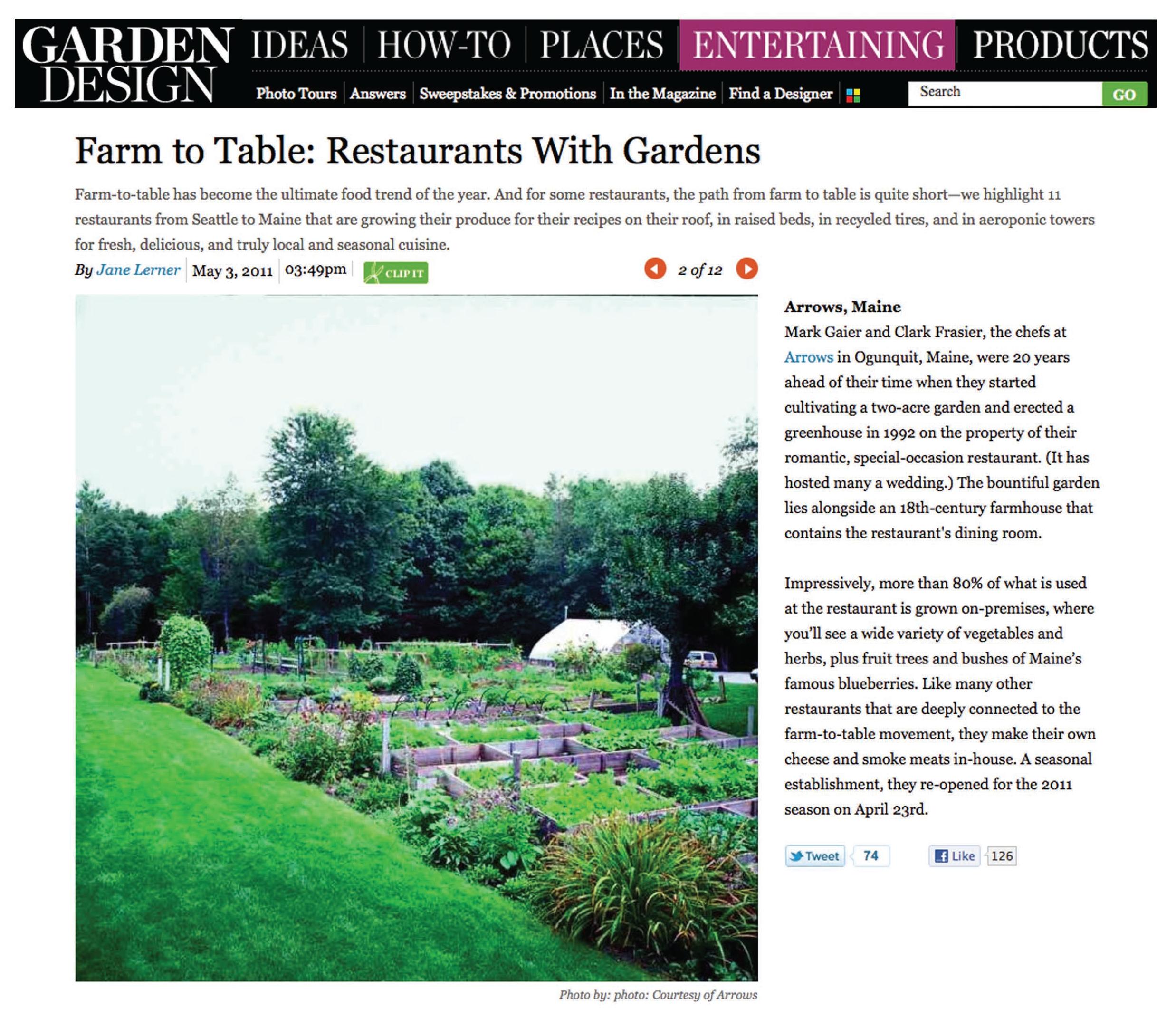 Farm to table, Garden design, Restaurant, Arrows, Maine, Mark Gaier, Clark Frasier, Ogunquit Maine, 18th Century Farmhouse, bueberries