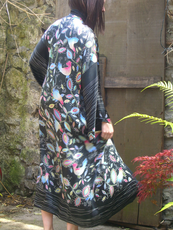 Silk Kimono - Birdswirl
