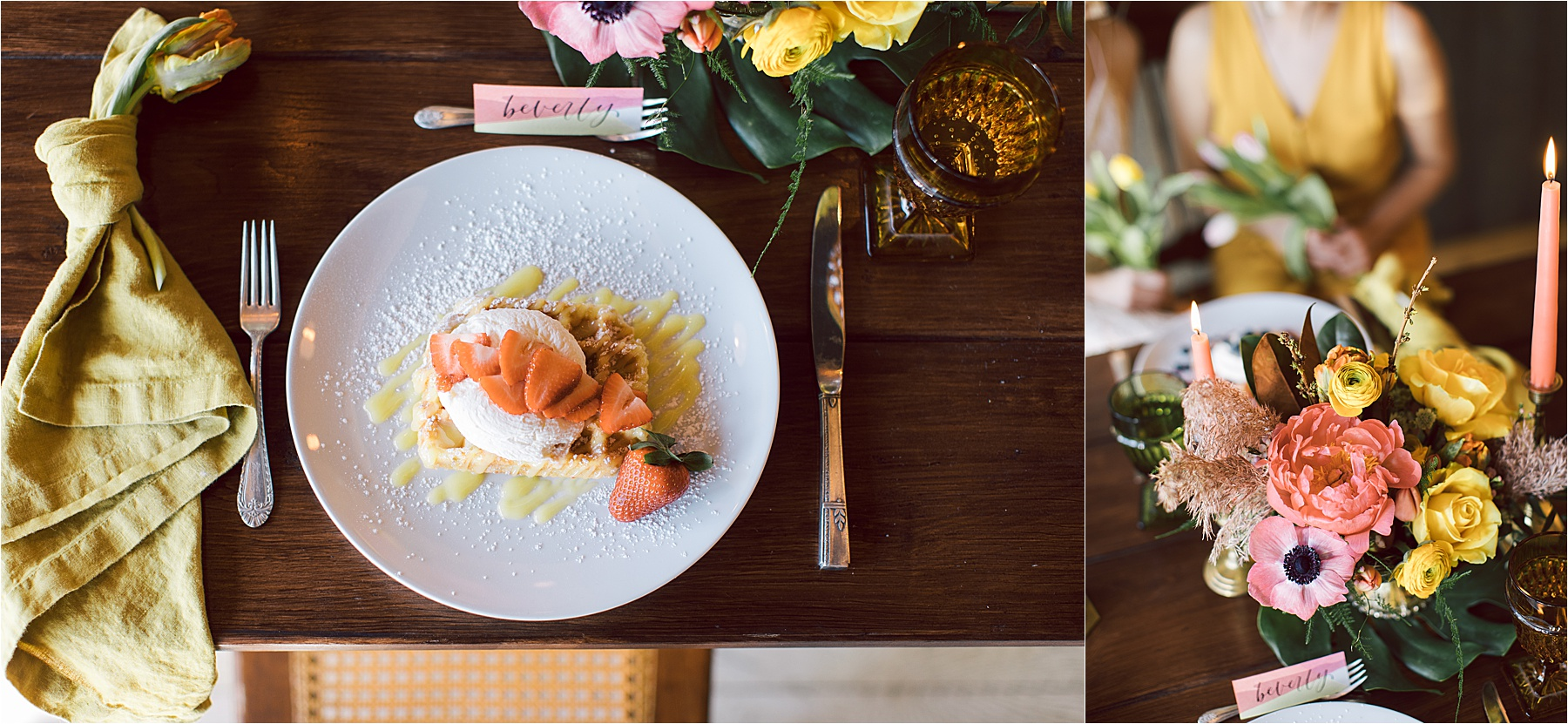 Florals:  The Pink Peony  / Waffles:  Press Waffle Co.  / Table + Accessories:  Velvet Rentals  / Calligraphy:  MJ Creative Co.  / Macrame:  Wannabe West Coast