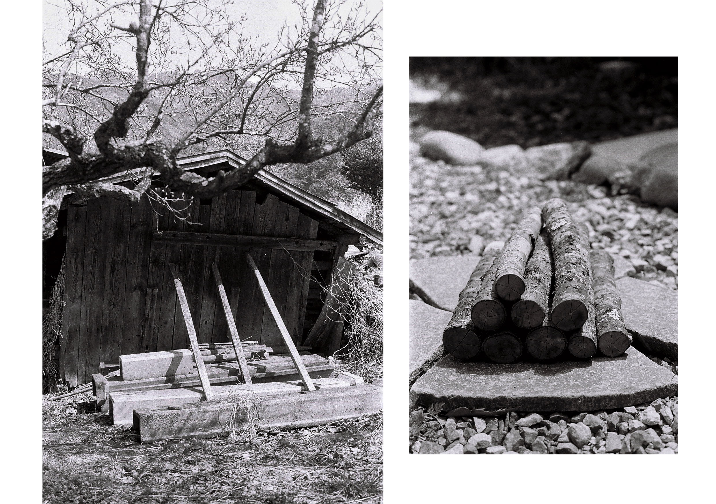 Left: 3 planks of wood supporting the slanting wall of a shed where Daigo does his wood work. Right: A stack of firewood.