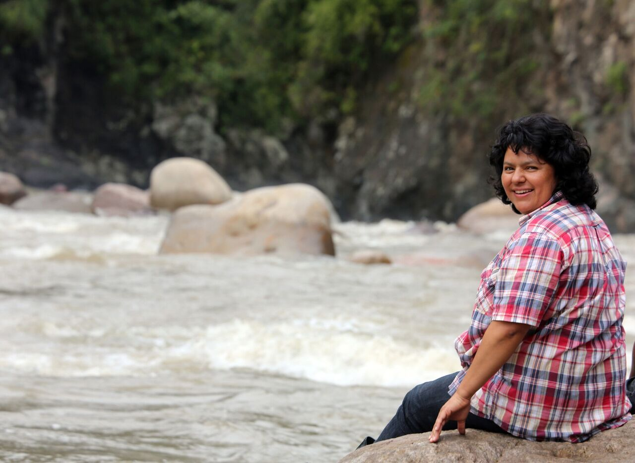 Berta Cáceres on the sacred Gaulcarque River, by Goldman Environmental Prize
