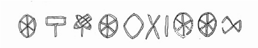 Ten Indus Signs, dubbed Dholavira. Reproduced under    Creative Commons 3.0