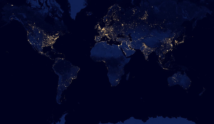 Artificial lights as seen by NASA satellites