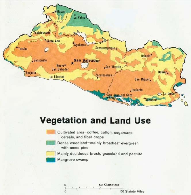 Figure 2 El Salvador Vegetation and Land Use via  Wikipedia