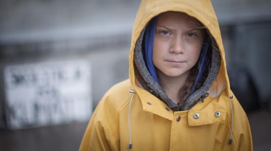 Figure 1 Greta Thunberg, outside the Swedish parliament. Photo by Anders Hellberg