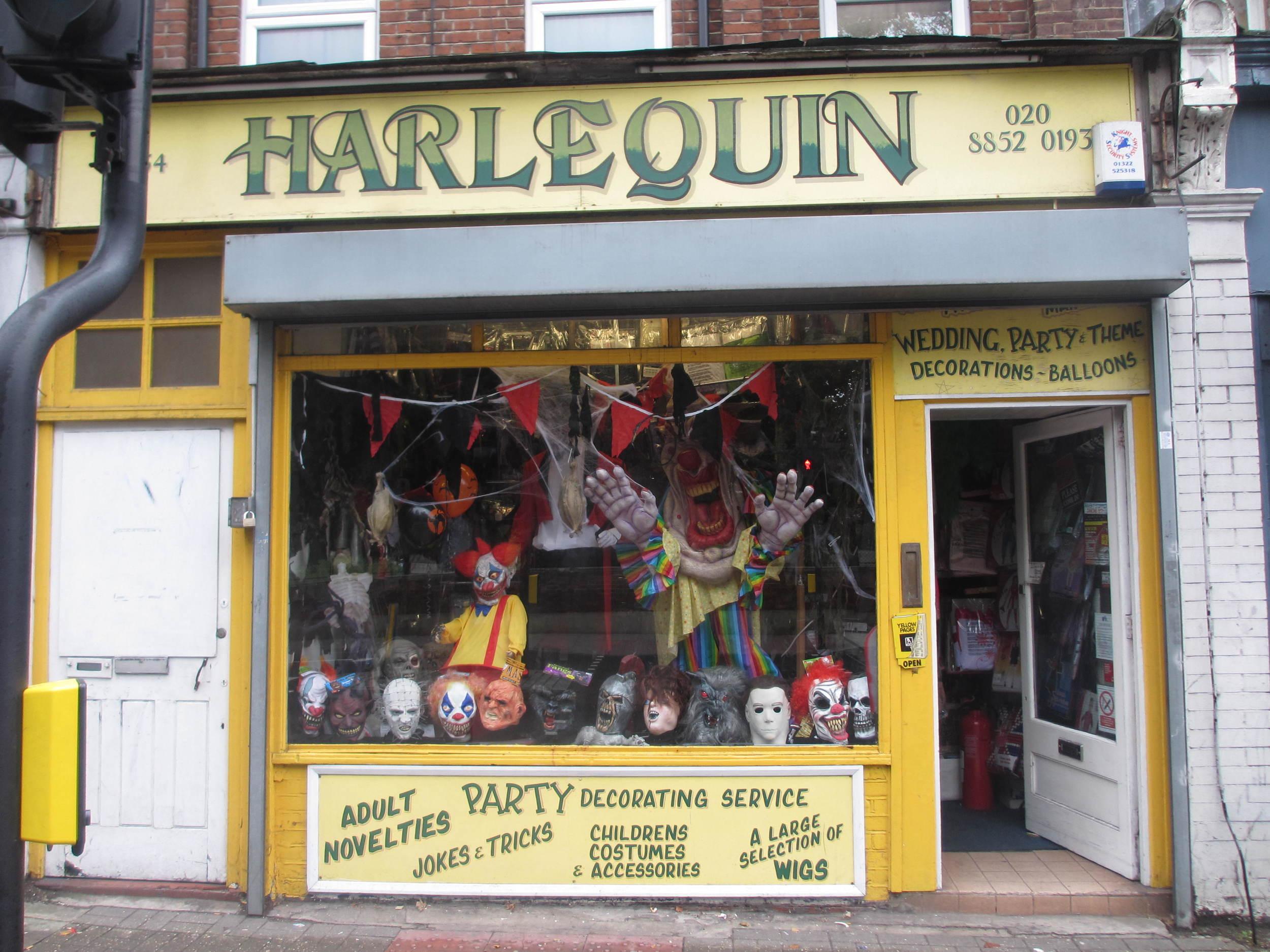 Harlequin Halloween Costume Shop in Lewisham