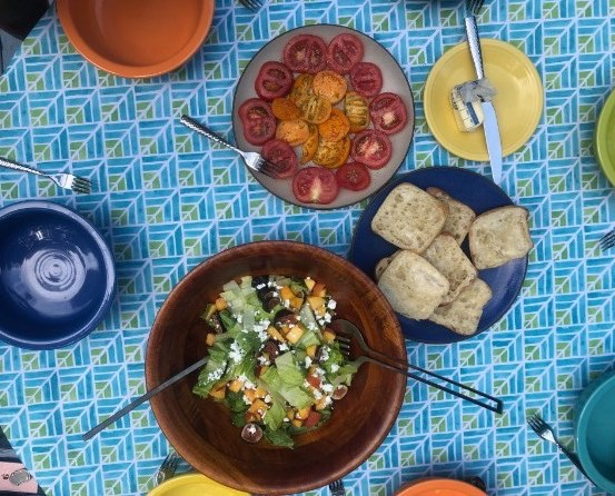 A summer lunch for my family with garden tomatoes!