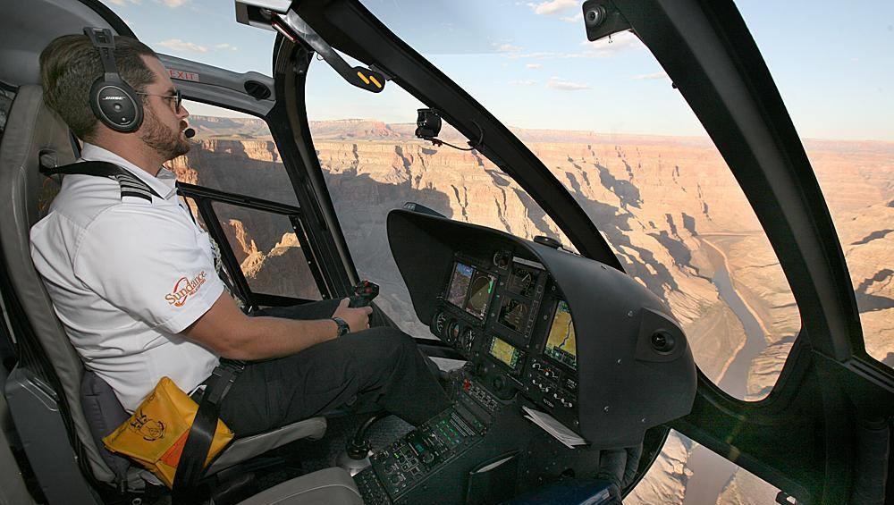 Flight through Grand Canyon at Sunset