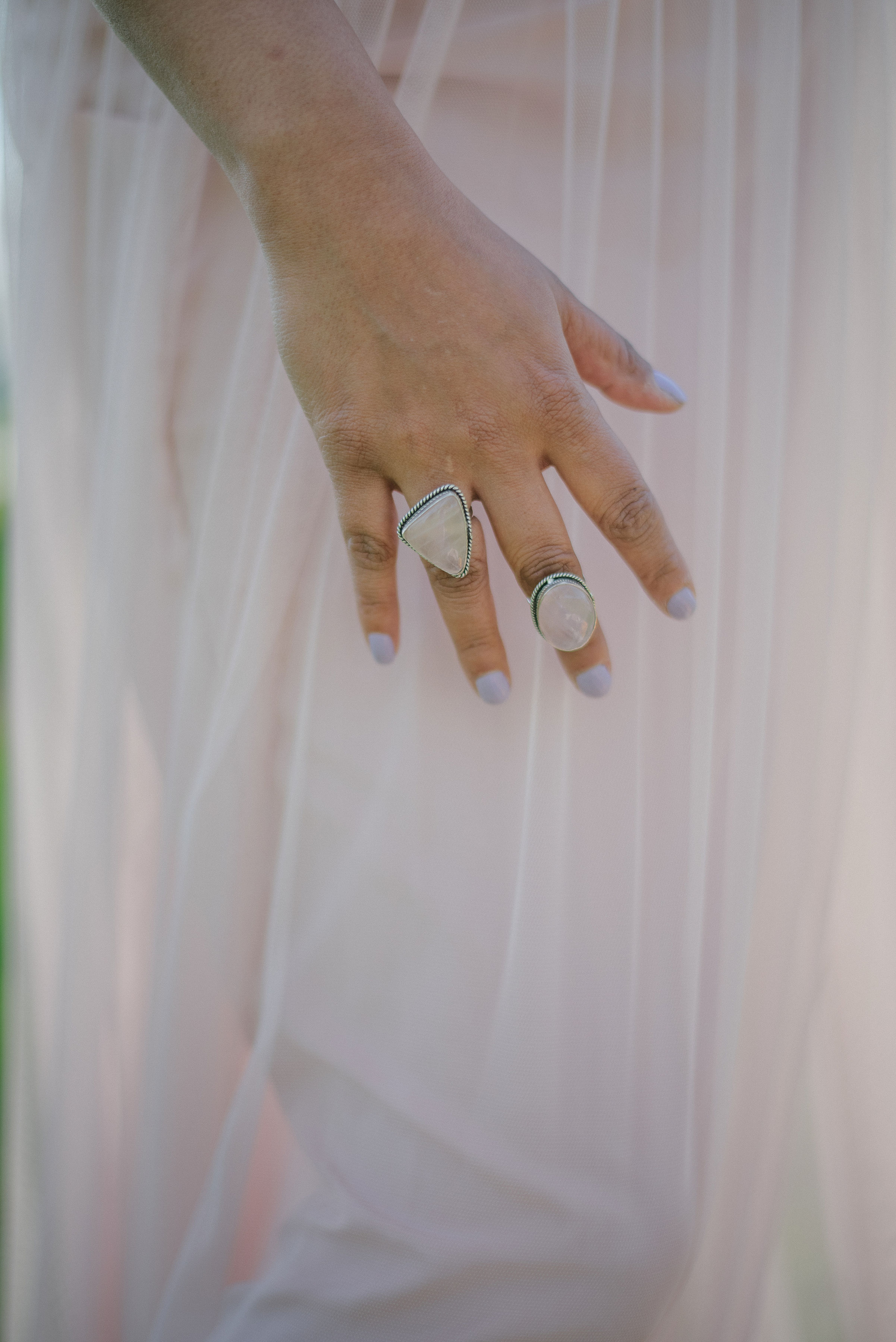 Wearable rose quartz crystal jewelry - these statement rings are so pretty!
