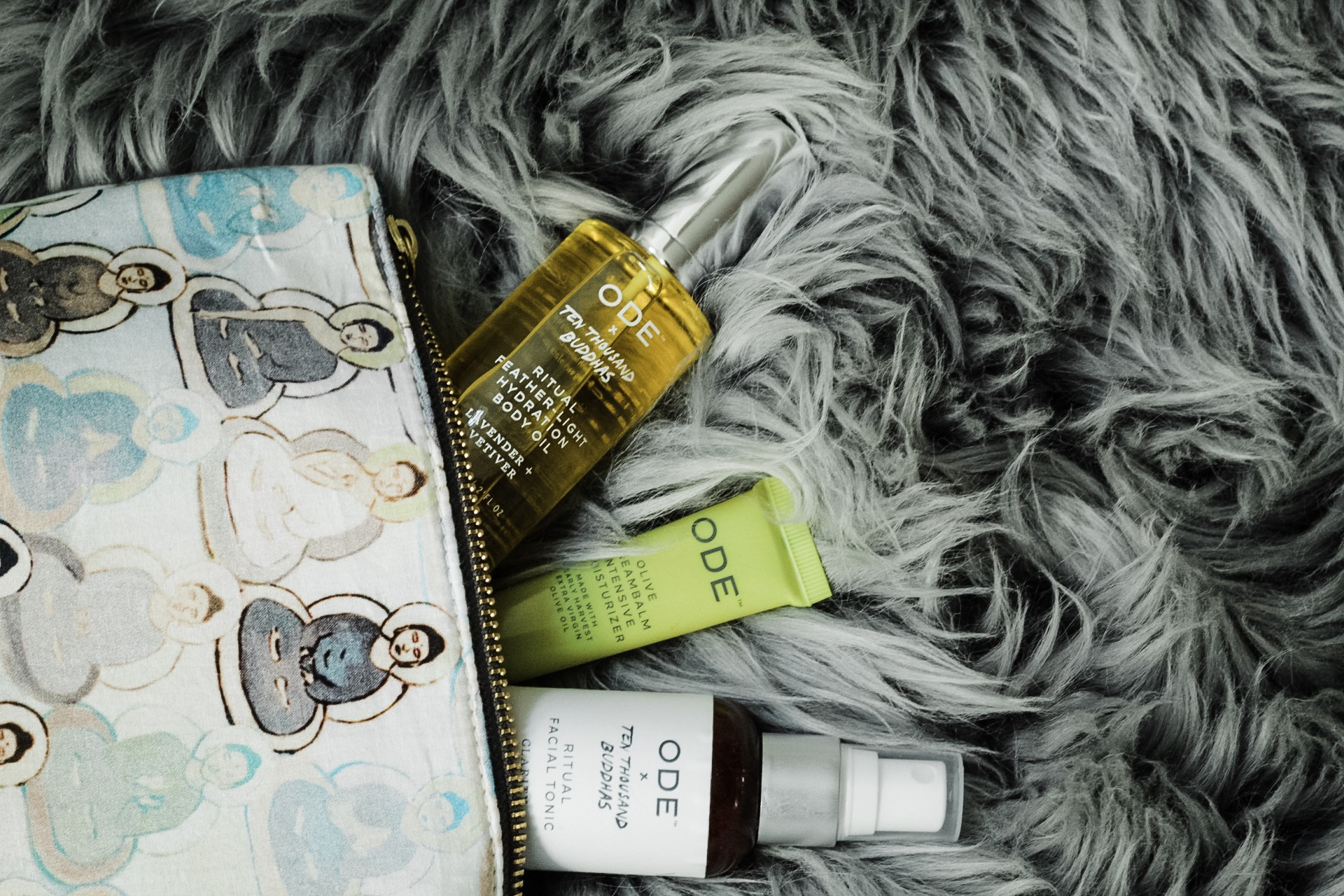 Just some of the products in the  Ritual Wellness Kit of Peace by ODE x 10,000 Buddhas