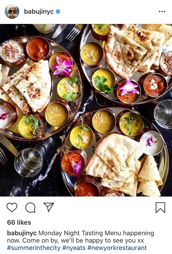 Follow  Babuji  on Instagram for more delicious Indian food, and definitely head over and try their thali.