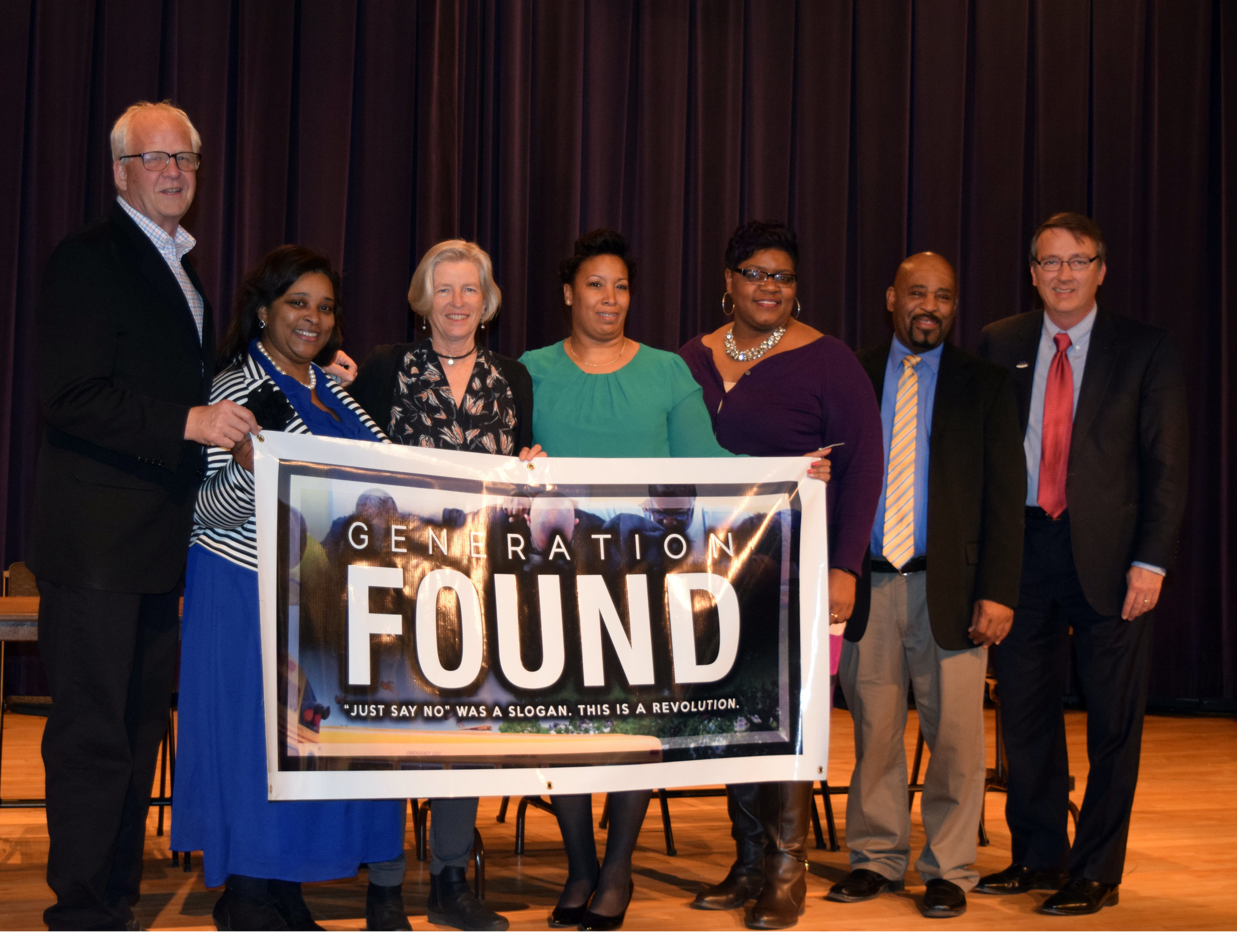 """Lynchburg City Schools and the UP Foundation presented """"Generation Found"""" on March 9, 2017. From left to right, Lewis Johnston, Daishia Womack, Ann Bond Gentry, LaTonya Brown, Ethel Reeves, Dr. James Stewart and Dr. Scott Brabrand."""
