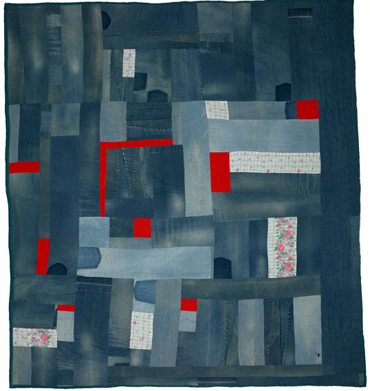 Mary Lee Bendolph, Work-clothes Quilt, 2002, denim and cotton, 97 x 88 inches.