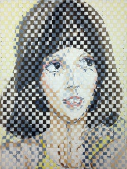 """Patricia Fabricant, Woven Shelley ,gouache on paper, woven, 24""""x18"""", 2017"""