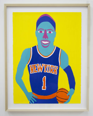 """Amar'e , 2016, acrylic and pencil on paper, 30""""x22"""""""