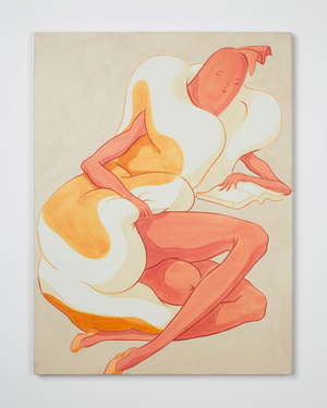 "Full Figure, Sitting, Hand Pulls Back Bun to Reveal Thigh, Fingers Splayed on Open Book , 2016, acrylic on linen, 24"" x 18"""