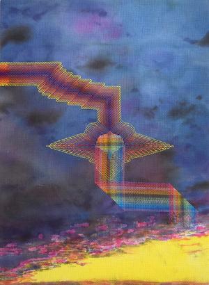 """Jonathan Cowan,  Color From a Form , 2016, Acrylic and cotton thread on aida cloth, 16""""x22"""""""