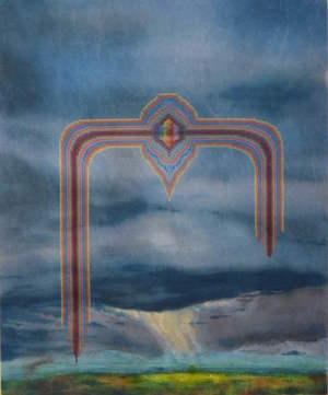 """Jonathan Cowan,  Color In a Form , 2016, Acrylic and cotton thread on aida cloth, 28""""x34"""""""