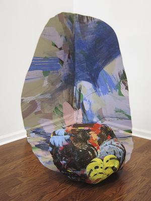 "Jonathan Cowan,  Form In the Sky , 2016, Acrylic and cotton thread on monks cloth,38""x34"""