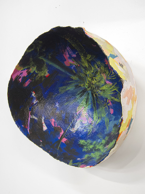 "Rachael Gorchov:  Three O'Clock , 2016, acrylic on handmade archival paper cache clay and burlap, 22""x25""x14"""